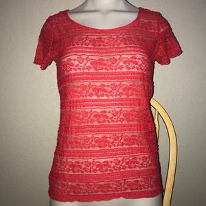 ELLE Sexy ♥️ Red Lace Sheer Top